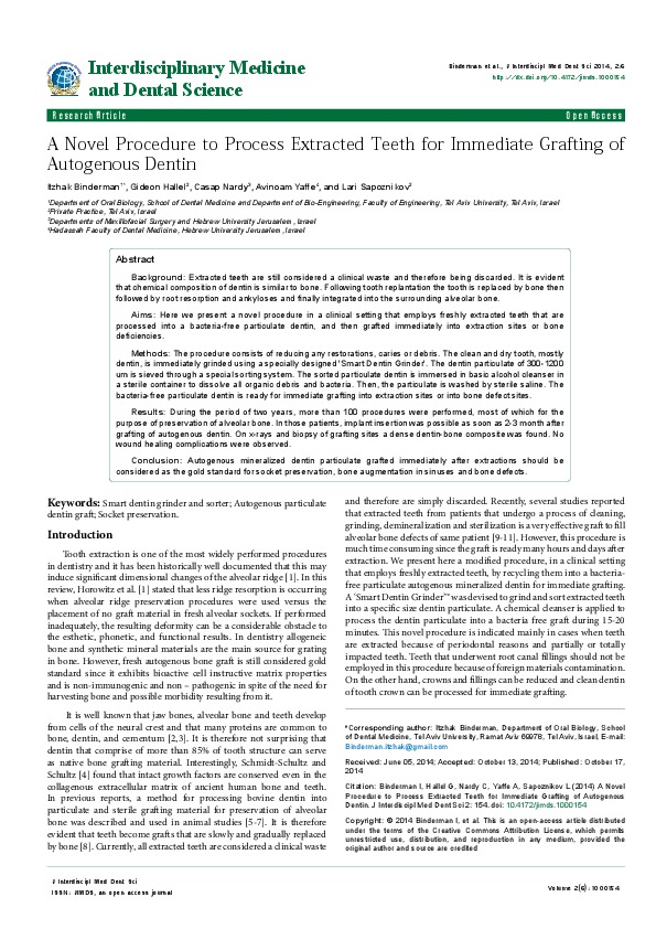 A Novel Procedure to Process Extracted Teeth for Immediate Grafting of Autogenous Dentin-thumbnail